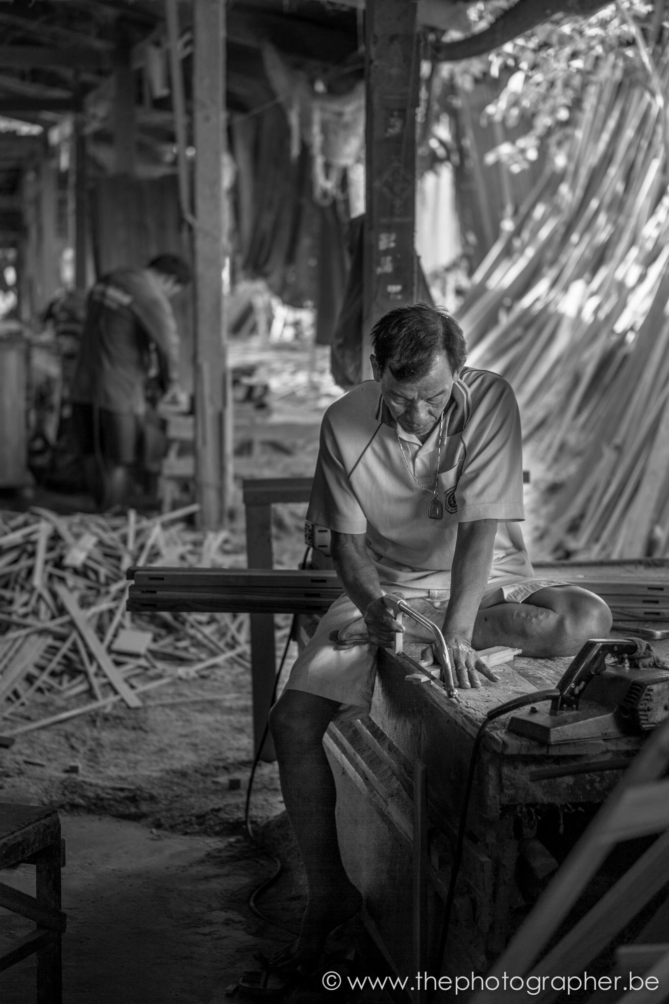 Thailand Werkplaats Zwartwit Man Zagen